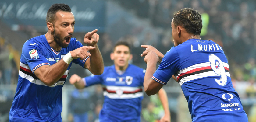 GENOA, ITALY - OCTOBER 22:  Luis Muriel (Sampdoria) celebrates after scoring gol 1-0 during the Serie A match between UC Sampdoria and Genoa CFC at Stadio Luigi Ferraris on October 22, 2016 in Genoa, Italy.  (Photo by Getty Images/Getty Images)