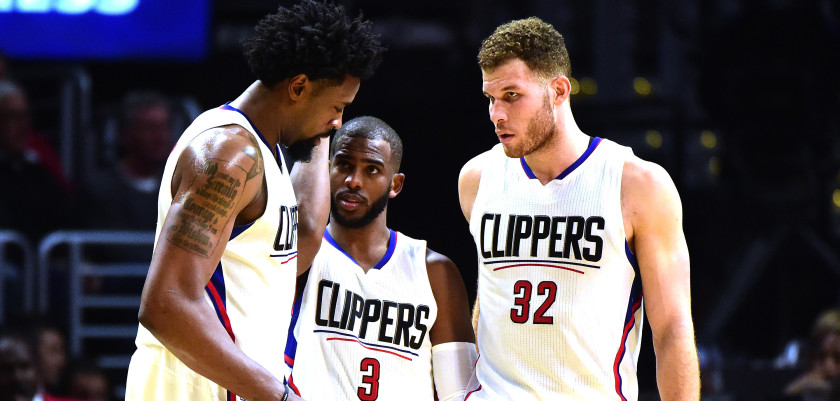 LOS ANGELES, CA - DECEMBER 21:  DeAndre Jordan #6, Chris Paul #3 and Blake Griffin #32 of the Los Angeles Clippers gather during the game against the Oklahoma City Thunder at Staples Center on December 21, 2015 in Los Angeles, California.  NOTE TO USER: User expressly acknowledges and agrees that, by downloading and or using this Photograph, user is consenting to the terms and condition of the Getty Images License Agreement.  (Photo by Harry How/Getty Images)