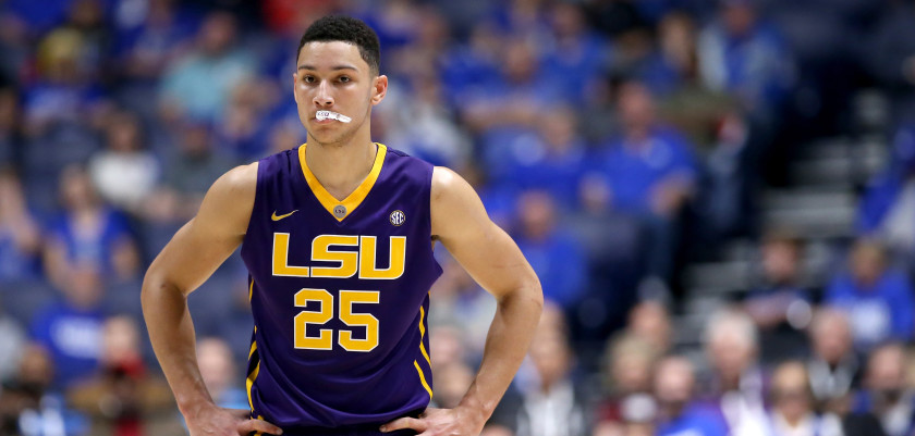 NASHVILLE, TN - MARCH 12:  Ben Simmons #25 of the LSU Tigers stands on the court after being charged with a technical foul in the game against the Texas A&M Aggies during the semifinals of the SEC Tournament at Bridgestone Arena on March 12, 2016 in Nashville, Tennessee.  (Photo by Andy Lyons/Getty Images)