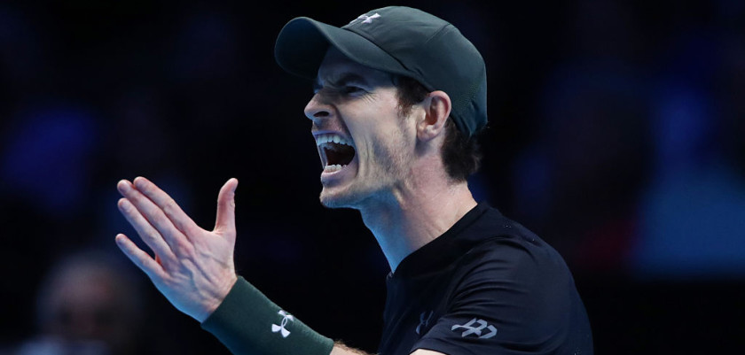 LONDON, ENGLAND - NOVEMBER 20:  Andy Murray of Great Britain reacts during the Singles Final against Novak Djokovic of Serbia at the O2 Arena on November 20, 2016 in London, England.  (Photo by Clive Brunskill/Getty Images)