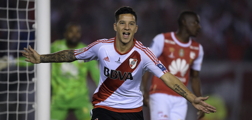 Argentina's River Plate forward Sebastian Driussi celebrates after scoring a goal against Colombia's Independiente Santa Fe during their Recopa Sudamericana 2016 second leg final football match at the Monumental stadium in Buenos Aires on August 25, 2016. / AFP / JUAN MABROMATA        (Photo credit should read JUAN MABROMATA/AFP/Getty Images)