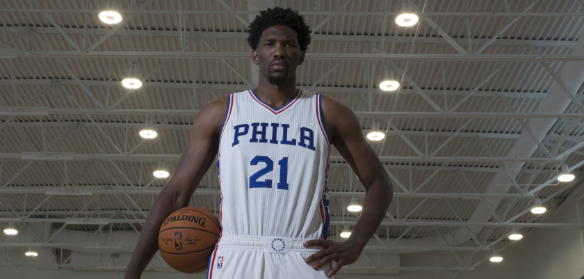 CAMDEN, NJ - SEPTEMBER 26: Joel Embiid #21 of the Philadelphia 76ers poses for a portrait during media day on September 26, 2016 in Camden, New Jersey. NOTE TO USER: User expressly acknowledges and agrees that, by downloading and or using this photograph, User is consenting to the terms and conditions of the Getty Images License Agreement. (Photo by Mitchell Leff/Getty Images)