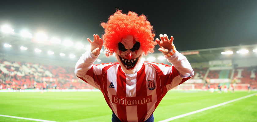 STOKE ON TRENT, ENGLAND - OCTOBER 31:  A fan parades in a Halloween fancy dress costume prior to the Premier League match between Stoke City and Swansea City at Bet365 Stadium on October 31, 2016 in Stoke on Trent, England.  (Photo by Michael Regan/Getty Images)