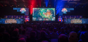 Visitors looks at the video game League of Legends being played on a giant screen on October 27, 2016 at the trade fair for the Paris Game Week, in Paris. Paris Game week will run from October 27 until October 31, 2016. / AFP / LIONEL BONAVENTURE        (Photo credit should read LIONEL BONAVENTURE/AFP/Getty Images)