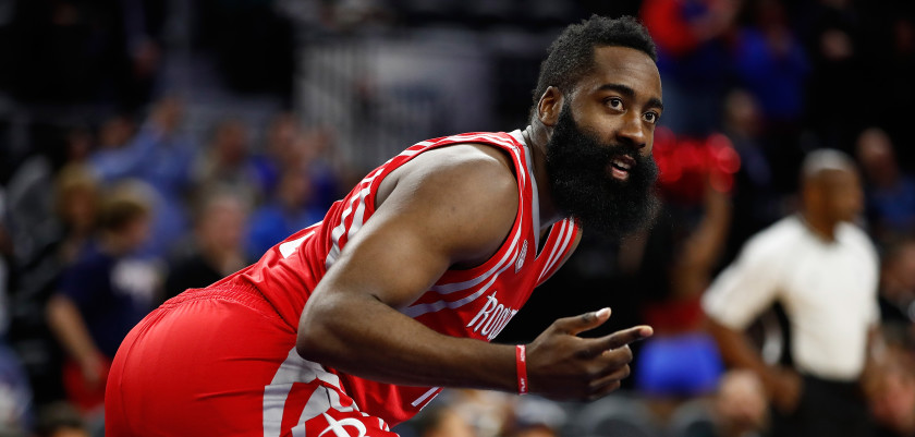AUBURN HILLS, MI - NOVEMBER 21: James Harden #13 of the Houston Rockets looks on while playing the Detroit Pistons at the Palace of Auburn Hills on November 21, 2016 in Auburn Hills, Michigan. NOTE TO USER: User expressly acknowledges and agrees that, by downloading and or using this photograph, User is consenting to the terms and conditions of the Getty Images License Agreement.  (Photo by Gregory Shamus/Getty Images)