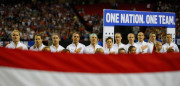 ATLANTA, GA - SEPTEMBER 18:  Team USA stands during the National Anthem prior to the match between the United States and the Netherlands at Georgia Dome on September 18, 2016 in Atlanta, Georgia.  (Photo by Kevin C. Cox/Getty Images)