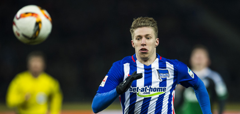 Hertha's midfielder Mitchell Weiser chases after the ball during the German first division Bundesliga football match Berlin vs Schalke at the Olympic stadium in Berlin on March 11, 2016.  / AFP / ODD ANDERSEN        (Photo credit should read ODD ANDERSEN/AFP/Getty Images)