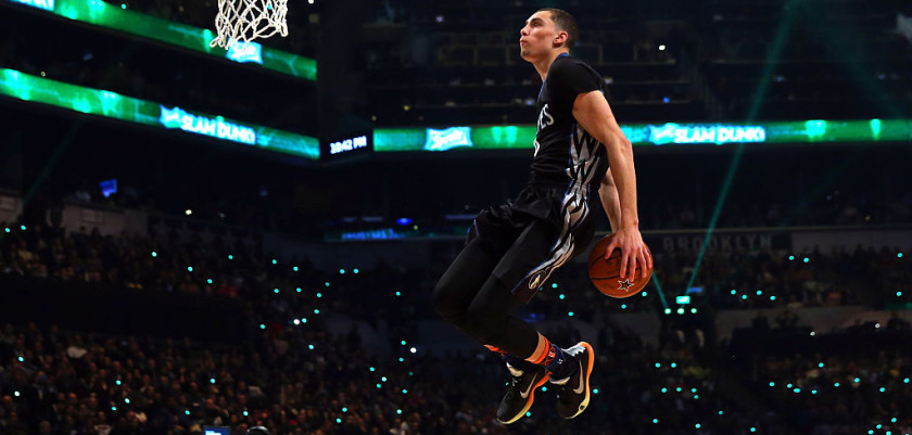 NEW YORK, NY - FEBRUARY 14:  Zach LaVine #8 of the Minnesota Timberwolves competes during the Sprite Slam Dunk Contest as part of the 2015 NBA Allstar Weekend at Barclays Center on February 14, 2015 in the Brooklyn borough of New York City. NOTE TO USER: User expressly acknowledges and agrees that, by downloading and or using this photograph, User is consenting to the terms and conditions of the Getty Images License Agreement.  (Photo by Elsa/Getty Images)