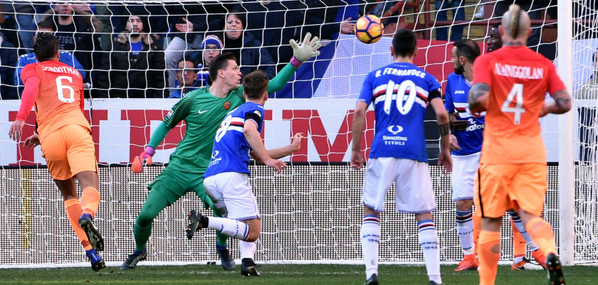 GENOA, ITALY - JANUARY 29: Dennis Praet (Sampdoria) goal 1-1 during the Serie A match between UC Sampdoria and AS Roma at Stadio Luigi Ferraris on January 29, 2017 in Genoa, Italy. (Photo by Paolo Rattini/Getty Images)
