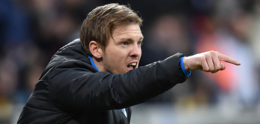 CORRECTION - Hoffenheim new head coach Julian Nagelsmann reacts during the German first division Bundesliga football match Hoffenheim versus Mainz on February 20, 2016 in Hoffenheim.  / AFP / dpa / Uwe Anspach / NO Getty Images (GETTY-VD) - Germany OUT / RESTRICTIONS: DURING MATCH TIME: DFL RULES TO LIMIT THE ONLINE USAGE TO 15 PICTURES PER MATCH AND FORBID IMAGE SEQUENCES TO SIMULATE VIDEO. == RESTRICTED TO EDITORIAL USE == FOR FURTHER QUERIES PLEASE CONTACT DFL DIRECTLY AT + 49 69 650050  / The erroneous mention[s] appearing in the metadata of this photo by Uwe Anspach has been modified in AFP systems in the following manner: [Hoffenheim versus Mainz on February 20, 2016 in Hoffenheim] instead of [Bremen versus Hoffenheim on February 20, 2016 in Bremen]. Please immediately remove the erroneous mention[s] from all your online services and delete it (them) from your servers. If you have been authorized by AFP to distribute it (them) to third parties, please ensure that the same actions are carried out by them. Failure to promptly comply with these instructions will entail liability on your part for any continued or post notification usage. Therefore we thank you very much for all your attention and prompt action. We are sorry for the inconvenience this notification may cause and remain at your disposal for any further information you may require.        (Photo credit should read UWE ANSPACH/AFP/Getty Images)