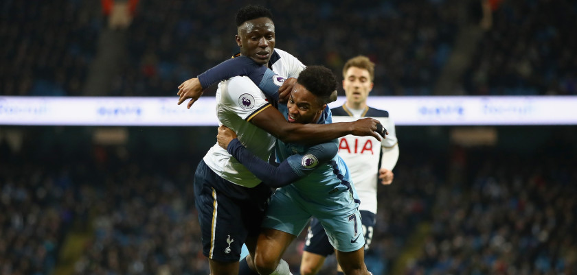 MANCHESTER, ENGLAND - JANUARY 21:  Victor Wanyama of Tottenham Hotspur fouls Raheem Sterling of Manchester City during the Premier League match between Manchester City and Tottenham Hotspur at Etihad Stadium on January 21, 2017 in Manchester, England.  (Photo by Clive Mason/Getty Images)