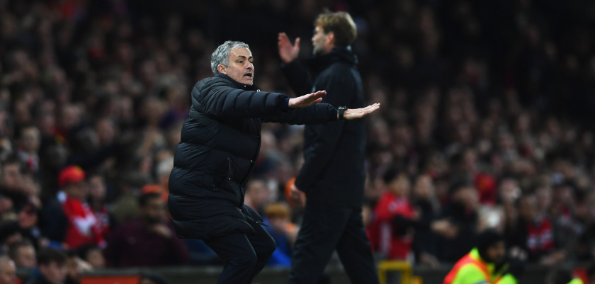 MANCHESTER, ENGLAND - JANUARY 15:  Jose Mourinho manager of Manchester United and Jurgen Klopp manager of Liverpool react during the Premier League match between Manchester United and Liverpool at Old Trafford on January 15, 2017 in Manchester, England.  (Photo by Laurence Griffiths/Getty Images)
