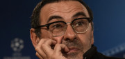 Napoli's coach Maurizio Sarri looks on during a press conference at Santiago Bernabeu stadium in Madrid on February 14, 2017, on the eve of the UEFA Champions League football match Real Madrid CF vs SSC Napoli. / AFP / JAVIER SORIANO        (Photo credit should read JAVIER SORIANO/AFP/Getty Images)