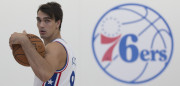 CAMDEN, NJ - SEPTEMBER 26: Dario Saric #9 of the Philadelphia 76ers looks on during media day on September 26, 2016 in Camden, New Jersey. NOTE TO USER: User expressly acknowledges and agrees that, by downloading and or using this photograph, User is consenting to the terms and conditions of the Getty Images License Agreement. (Photo by Mitchell Leff/Getty Images)