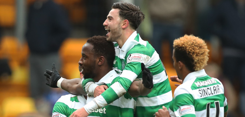PERTH, SCOTLAND - FEBRUARY 05:  Moussa Dembele of Celtic is congratulated by team mates after he scores his third goal during the Ladbrokes Scottish Premiership match between St Johnstone and Celtic at McDiarmid Park at  on February 5, 2017 in Perth, Scotland. (Photo by Ian MacNicol/Getty Images)