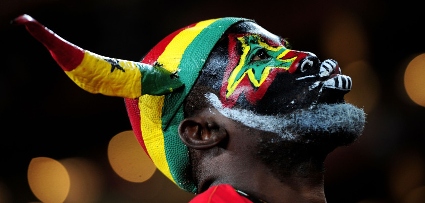 JOHANNESBURG, SOUTH AFRICA - JULY 02: A Ghana fan enjoys the atmosphere prior to the 2010 FIFA World Cup South Africa Quarter Final match between Uruguay and Ghana at the Soccer City stadium on July 2, 2010 in Johannesburg, South Africa.  (Photo by Clive Mason/Getty Images)