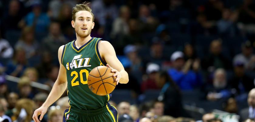 CHARLOTTE, NC - DECEMBER 20:  Gordon Hayward #20 of the Utah Jazz against the Charlotte Hornets during their game at Time Warner Cable Arena on December 20, 2014 in Charlotte, North Carolina.  NOTE TO USER: User expressly acknowledges and agrees that, by downloading and or using this photograph, User is consenting to the terms and conditions of the Getty Images License Agreement.  (Photo by Streeter Lecka/Getty Images)
