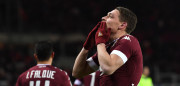 TURIN, ITALY - JANUARY 16:  Andrea Belotti of FC Torino celebrates after scoring the opening goal during the Serie A match between FC Torino and AC Milan at Stadio Olimpico di Torino on January 16, 2017 in Turin, Italy.  (Photo by Valerio Pennicino/Getty Images)