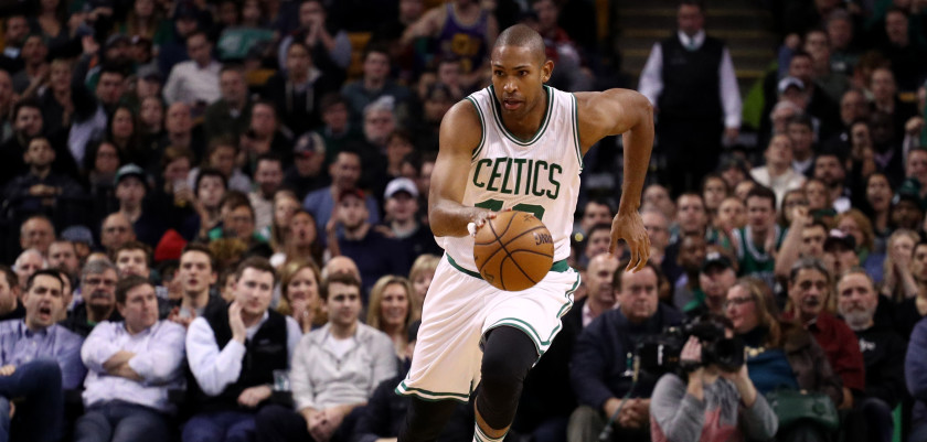 BOSTON, MA - DECEMBER 09: Al Horford #42 of the Boston Celtics dribbles against the Toronto Raptors during the second half at TD Garden on December 9, 2016 in Boston, Massachusetts. The Raptors defeat the Celtics 101-94. (Photo by Maddie Meyer/Getty Images)