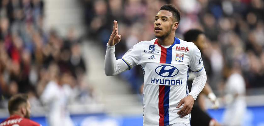 Lyon's French midfielder Corentin Tolisso celebrates after scoring a goal during the French L1 football match between Olympique Lyonnais (OL) and Dijon (DFCO) on February 19, 2017, at the Parc Olympique Lyonnais stadium in Decines-Charpieu near Lyon, central-eastern France.  / AFP / ROMAIN LAFABREGUE        (Photo credit should read ROMAIN LAFABREGUE/AFP/Getty Images)