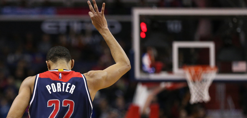 WASHINGTON, DC - FEBRUARY 28: Otto Porter Jr. #22 of the Washington Wizards reacts after scoring a three-pointer against the Cleveland Cavaliers during the second half at Verizon Center on February 28, 2016 in Washington, DC. NOTE TO USER: User expressly acknowledges and agrees that, by downloading and or using this photograph, User is consenting to the terms and conditions of the Getty Images License Agreement. (Photo by Patrick Smith/Getty Images)