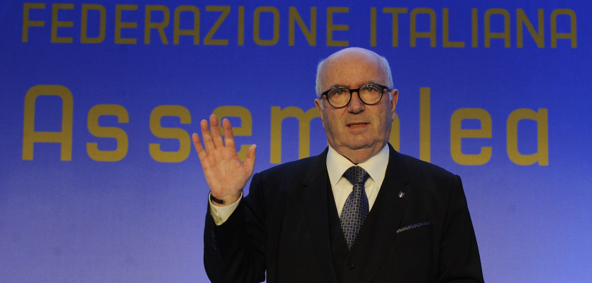 ROME, ITALY - MARCH 06:  The new FIGC President Carlo Tavecchio celebrates after the Italian Football Federation (FIGC) new president elections on March 6, 2017 in Rome, Italy.  (Photo by Marco Rosi/Getty Images)