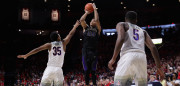 TUCSON, AZ - JANUARY 29:  Markelle Fultz #20 of the Washington Huskies attempts a shot over Allonzo Trier #35 of the Arizona Wildcats during the second half of the college basketball game at McKale Center on January 29, 2017 in Tucson, Arizona. The Wildcats defeated the Huskies 77-66.  (Photo by Christian Petersen/Getty Images)