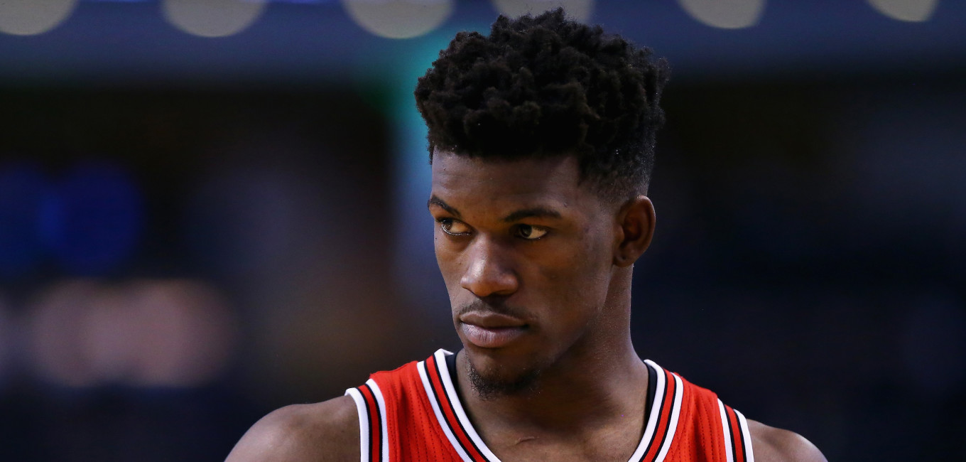 BOSTON, MA - DECEMBER 09:  Jimmy Butler #21 of the Chicago Bulls looks on during the second half against the Boston Celtics at TD Garden on December 9, 2015 in Boston, Massachusetts. The Celtics defeat the Bulls 105-100.  (Photo by Maddie Meyer/Getty Images)
