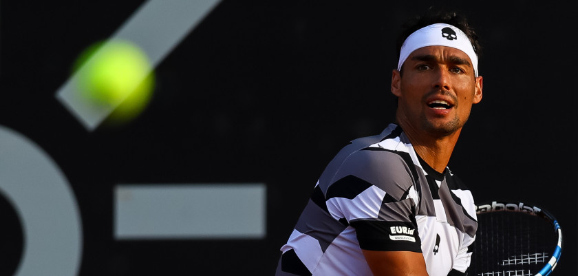 RIO DE JANEIRO, BRAZIL - FEBRUARY 21: Fabio Fognini of Italy returns a shot to Tommy Robredo of Spain during the ATP Rio Open 2017 at Jockey Club Brasileiro on February 21, 2017 in Rio de Janeiro, Brazil. (Photo by Buda Mendes/Getty Images)