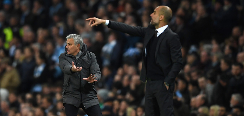 MANCHESTER, ENGLAND - APRIL 27:  Jose Mourinho, Manager of Manchester United reacts during the Premier League match between Manchester City and Manchester United at Etihad Stadium on April 27, 2017 in Manchester, England.  (Photo by Laurence Griffiths/Getty Images)