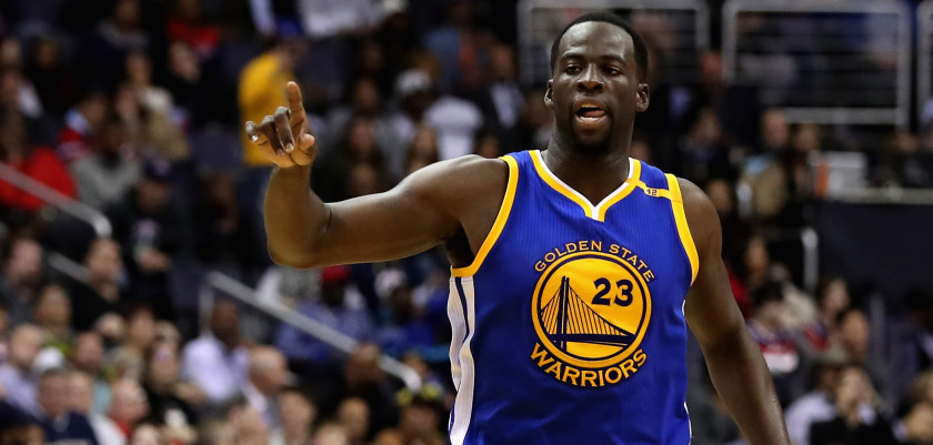 WASHINGTON, DC - FEBRUARY 28: Draymond Green #23 of the Golden State Warriors celebrates after scoring against the Washington Wizards at Verizon Center on February 28, 2017 in Washington, DC. NOTE TO USER: User expressly acknowledges and agrees that, by downloading and or using this photograph, User is consenting to the terms and conditions of the Getty Images License Agreement.  (Photo by Rob Carr/Getty Images)