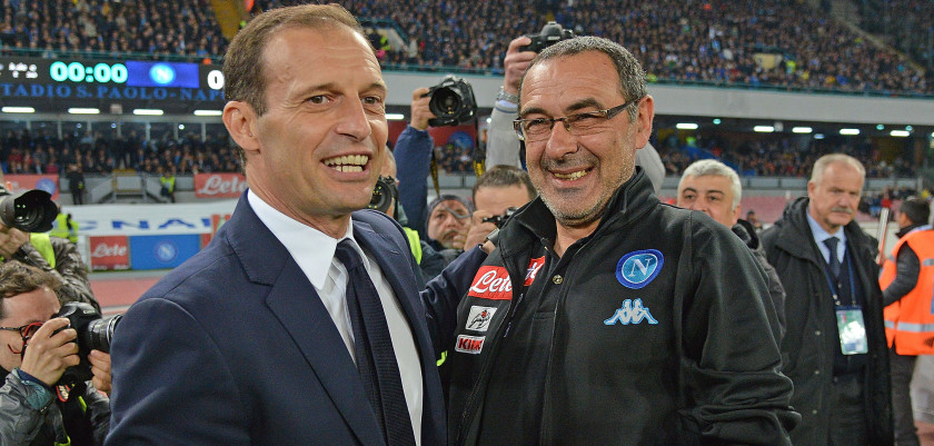 NAPLES, ITALY - APRIL 05:  Coach of SSC Napoli Maurizio Sarri greets coach Juventus FC Massimiliano Allegri before the TIM Cup match between SSC Napoli and Juventus FC at Stadio San Paolo on April 5, 2017 in Naples, Italy.  (Photo by Francesco Pecoraro/Getty Images)