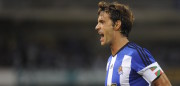 Real Sociedad's midfielder Xabi Prieto celebrates after scoring during the UEFA Europa League play-offs football match Real Sociedad de Futbol vs FC Krasnodar at the Anoeta stadium in San Sebastian on August 21, 2014.   AFP PHOTO/ RAFA RIVAS        (Photo credit should read RAFA RIVAS/AFP/Getty Images)