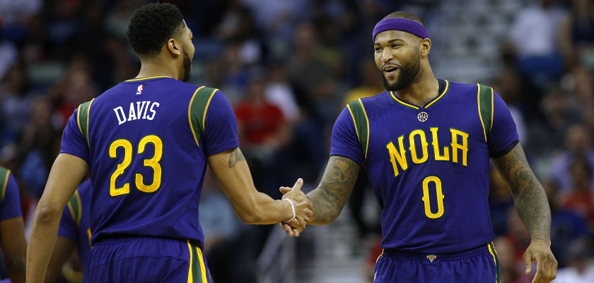 NEW ORLEANS, LA - FEBRUARY 23:  DeMarcus Cousins #0 of the New Orleans Pelicans and Anthony Davis #23 talk during a game against the Houston Rockets at the Smoothie King Center on February 23, 2017 in New Orleans, Louisiana. NOTE TO USER: User expressly acknowledges and agrees that, by downloading and or using this photograph, User is consenting to the terms and conditions of the Getty Images License Agreement.  (Photo by Jonathan Bachman/Getty Images)