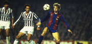 Mar 1986:  Steve Archibald (right) of Barcelona takes on Gatetano Scirea of Juventus during the European Cup match in Barcelona, Spain. Barcelona won the match 1-0.  Mandatory Credit: Allsport UK /Allsport