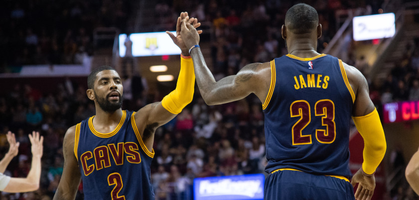 CLEVELAND, OH - NOVEMBER 03: Kyrie Irving #2 and LeBron James #23 of the Cleveland Cavaliers celebrate after scoring during the first half against the Boston Celtics  at Quicken Loans Arena on November 3, 2016 in Cleveland, Ohio. NOTE TO USER: User expressly acknowledges and agrees that, by downloading and/or using this photograph, user is consenting to the terms and conditions of the Getty Images License Agreement. Mandatory copyright notice. (Photo by Jason Miller/Getty Images)
