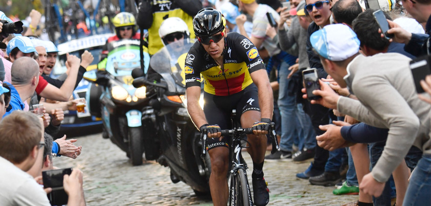 Belgium's Philippe Gilbert of Quick-Step Floors rides during the 101st edition of the 'Ronde van Vlaanderen - Tour des Flandres - Tour of Flanders' one day cycling race, 260km from Antwerp to Oudenaarde, on April 2, 2017. / AFP PHOTO / Belga / DIRK WAEM / Belgium OUT        (Photo credit should read DIRK WAEM/AFP/Getty Images)