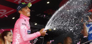 Colombia's Nairo Quintana of team Movistar celebrates as he crosses the finish line to win the 9th stage of the 100th Giro d'Italia, Tour of Italy, cycling race from Montenero di Bisaccia to Blockhaus on May 14, 2017.  / AFP PHOTO / Luk BENIES        (Photo credit should read LUK BENIES/AFP/Getty Images)