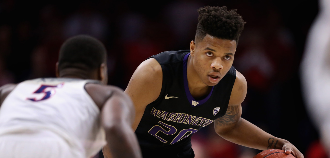 TUCSON, AZ - JANUARY 29:  Markelle Fultz #20 of the Washington Huskies handles the ball during the second half of the college basketball game against the Arizona Wildcats at McKale Center on January 29, 2017 in Tucson, Arizona. The Wildcats defeated the Huskies 77-66.  (Photo by Christian Petersen/Getty Images)
