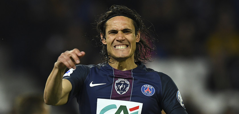 Paris Saint-Germain's Uruguayan forward Edinson Cavani reacts after missing a shot on goal during the French Cup semi-final match between Paris Saint-Germain and Monaco at the Parc des Princes stadium in Paris on April 26, 2017. / AFP PHOTO / FRANCK FIFE        (Photo credit should read FRANCK FIFE/AFP/Getty Images)