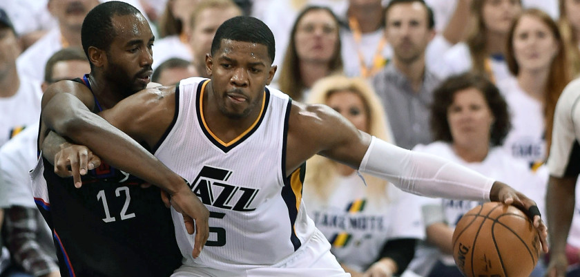 SALT LAKE CITY, UT - APRIL 23: Joe Johnson #6 of the Utah Jazz tries to drive past the defense of Luc Mbah a Moute #12 of the Los Angeles Clippers in the second half of the 105-98 win by the Jazz in Game Four of the Western Conference Quarterfinals during the 2017 NBA Playoffs at Vivint Smart Home Arena on April 23, 2017 in Salt Lake City, Utah. NOTE TO USER: User expressly acknowledges and agrees that, by downloading and or using this photograph, User is consenting to the terms and conditions of the Getty Images License Agreement. (Photo by Gene Sweeney Jr/Getty Images)
