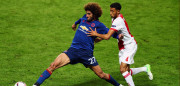 STOCKHOLM, SWEDEN - MAY 24: Marouane Fellaini of Manchester United and Jairo Riedewald of Ajax battle for possession during the UEFA Europa League Final between Ajax and Manchester United at Friends Arena on May 24, 2017 in Stockholm, Sweden.  (Photo by Alex Grimm/Getty Images)