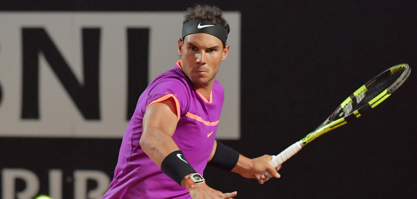 Spanish Rafael Nadal returns the ball to US Jack Sock during their third round tennis match at the ATP Tennis Open tournament on May 18, 2017 at the Foro Italico in Rome, Italy.  / AFP PHOTO / TIZIANA FABI        (Photo credit should read TIZIANA FABI/AFP/Getty Images)