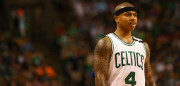 BOSTON, MA - MAY 19:  (EDITORS NOTE: Retransmission with alternate crop.) Isaiah Thomas #4 of the Boston Celtics reacts in the first half against the Cleveland Cavaliers during Game Two of the 2017 NBA Eastern Conference Finals at TD Garden on May 19, 2017 in Boston, Massachusetts. NOTE TO USER: User expressly acknowledges and agrees that, by downloading and or using this photograph, User is consenting to the terms and conditions of the Getty Images License Agreement.  (Photo by Adam Glanzman/Getty Images)