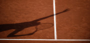 A photo shows a players shadow on the court during a tennis match at the Roland Garros 2017 French Open on June 5, 2017 in Paris.  / AFP PHOTO / Eric FEFERBERG        (Photo credit should read ERIC FEFERBERG/AFP/Getty Images)