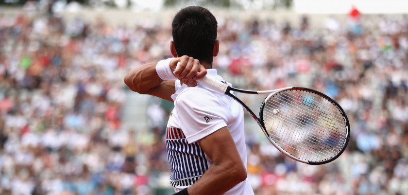 PARIS, FRANCE - MAY 31: Novak Djokovic of Serbia plays a forehand during the mens singles second round match against Joao Sousa of Portugal on day four of the 2017 French Open at Roland Garros on May 31, 2017 in Paris, France.  (Photo by Julian Finney/Getty Images)