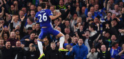 TOPSHOT - Chelsea's English defender John Terry jumps in celebration after scoring the opening goal during the English Premier League football match between Chelsea and Watford at Stamford Bridge in London on May 15, 2017. / AFP PHOTO / Ben STANSALL / RESTRICTED TO EDITORIAL USE. No use with unauthorized audio, video, data, fixture lists, club/league logos or 'live' services. Online in-match use limited to 75 images, no video emulation. No use in betting, games or single club/league/player publications.  /         (Photo credit should read BEN STANSALL/AFP/Getty Images)