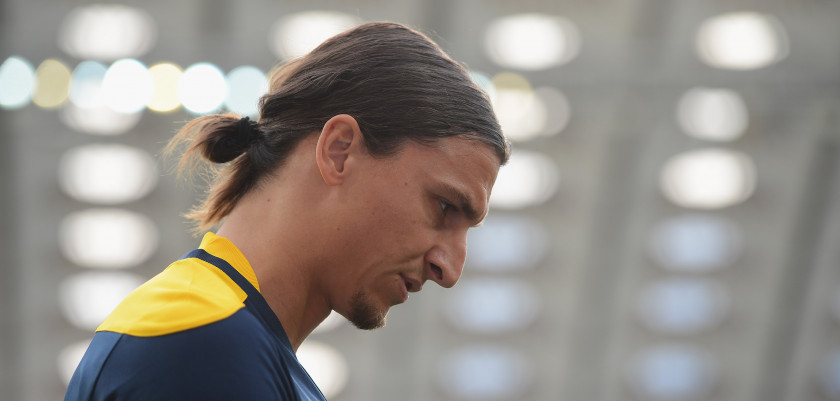 KIEV, UKRAINE - JUNE 14:  Zlatan Ibrahimovic of Sweden in thoughtful mood during a UEFA EURO 2012 training session at the Olympic Stadium on June 14, 2012 in Kiev, Ukraine.  (Photo by Laurence Griffiths/Getty Images)