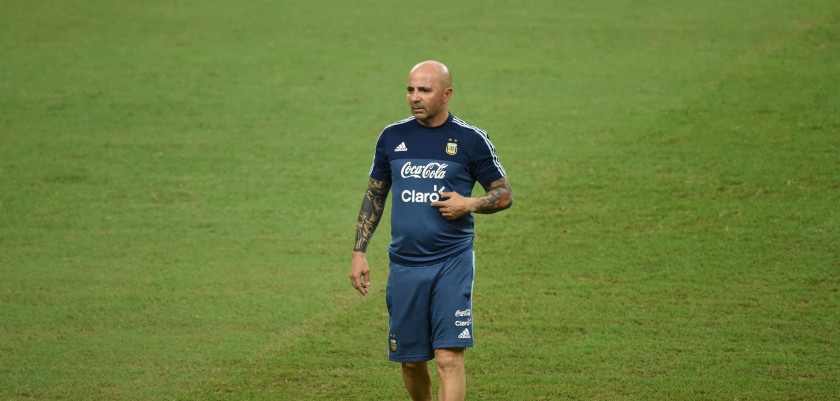 CORRECTION - Argentina's football team coach Jorge Sampaoli takes part in a training session at the National Stadium in Singapore on June 12, 2017.