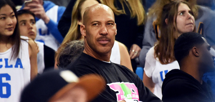 Mar 4, 2017; Los Angeles, CA, USA; Lavar Ball, father of UCLA Bruins guard Lonzo Ball (2), looks on in the stands before the game between the UCLA Bruins and the Washington State Cougars at Pauley Pavilion. Mandatory Credit: Richard Mackson-USA TODAY Sports